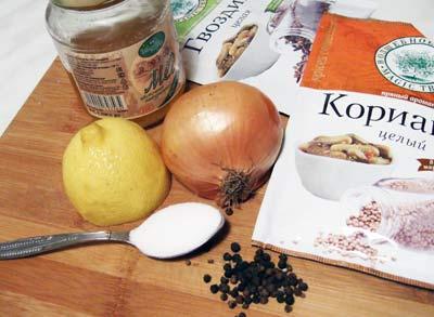 ингредиенты для маринования щуки