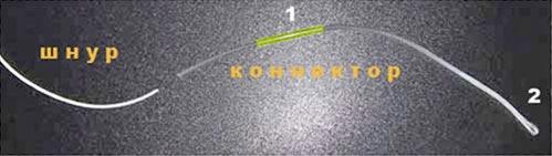 соединение шнура с коннектором
